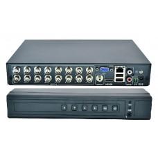 16 каналов; Видеосжатие: H.264; Видеостандарт: HDCVI, TVI, AHD, CVBS, IP